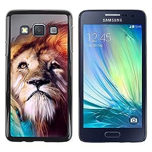 YiPhone /// Prima de resorte delgada de la cubierta del caso de Shell Armor - Pintura Majestic Lion - Samsung Galaxy A3