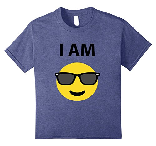 Kids T-Shirt Funny Orange October Sunglasses Halloween Emoticon 10 Heather Blue
