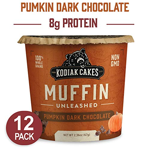 - Kodiak Cakes Minute Muffins High Protein Snack, Pumpkin Dark Chocolate, 2.36 Ounce (Pack of 12) (Packaging May Vary)
