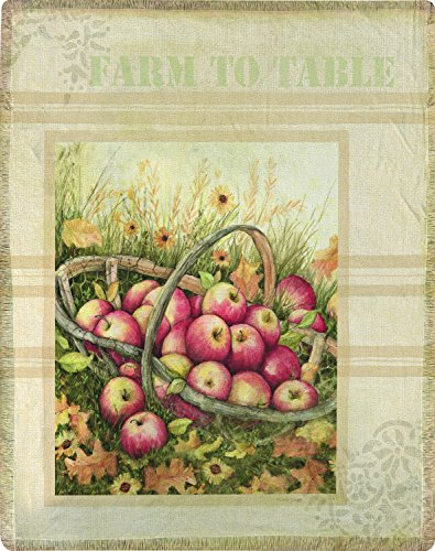 Manual Woodworkers Apple Harvest Basket Throw, 50x60, Susan -