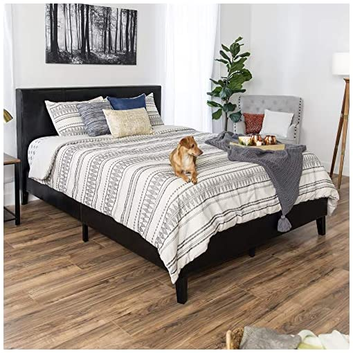 Bedroom Best Choice Products Faux Leather Upholstered Full Size Modern Platform Bed Frame Mattress Support w/Wood Slats, Metal… modern beds and bed frames