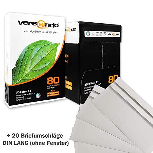 Versando 2500 Blatt PROMO Kopierpapier high white 80, 80g/qm, weiß, Druckerpapier, Fax, Laserpapier, Fotokopierpapier, für Tintenstrahldrucker, aus Nachhaltiger Forstwirtschaft, chlorfrei ECF