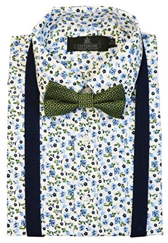 Boys Pattern Ties - Vittorino Boys' Dress Shirt with Matching Bowtie and Suspenders Set, Teal, 7