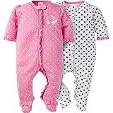 Gerber Baby Girls' 2 Pack Zip Front Sleep 'n Play,Elephants/Flowers,6-9 Months