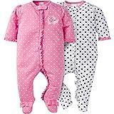 Kyпить Gerber Baby Girls' 2 Pack Zip Front Sleep 'n Play,Elephants/Flowers,6-9 Months на Amazon.com