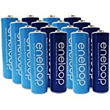 "Newest Version Panasonic Eneloop 4th Generation 16 Pack AA NiMH Pre-Charged Rechargeable Batteries - WITH BATTERY HOLDER- Rechargeable 2100 Times "" Limited Edition Blue Color Eneloops"""