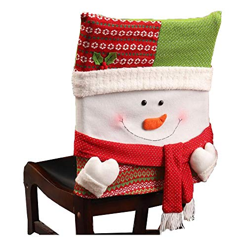 DENTRUN Christmas Kitchen Chair Slip Covers,Santa Claus Snowman,Festive Decor Dinner Decor Dining Room Chair Covers, for Holiday Party Festival Halloween]()