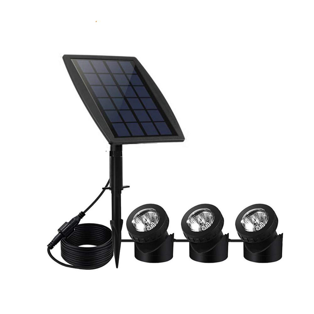Solar Pond Spotlights,Submersible Pond Lights with 3 Lamps 18 LEDs Landscape Spotlight Underwater Lights IP68 Waterproof solar Lights for Pond,Garden,Landscape,Fountain,Outdoor,Lawn (Warm White)
