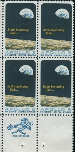 APOLLO 8 ~ FIRST HUMAN SPACE FLIGHT #1371 ZIP CODE BLOCK OF 4 X 6¢ US Postage Stamps ()