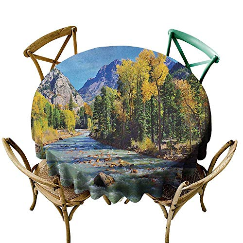 The pattern round table cloth 54 inch Landscape,Mountains of Colorado with Lush Forest and River Summer Foliage Idyllic Photo, Multicolor Printed Indoor Outdoor Camping Picnic Circle Table Cloth ()