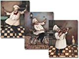 chef kitchen wall art - Three Jolly Chef 8x10 Inches Poster Set