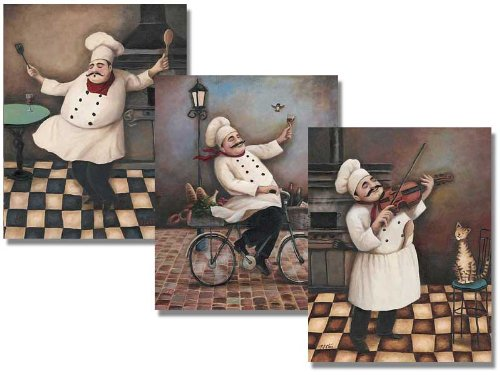 Amazon.com: Three Jolly Chef 8x10 Inches Poster Set: Kitchen ...