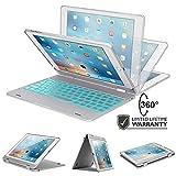 iPad Keyboard Case for iPad 9.7 2018 (6th Gen) - iPad 9.7 2017 - iPad Pro 9.7 - iPad Air 2 & 1 with 7-Color Backlight - 360 Rotatable - Slim & Light - Auto Sleep Wake -iPad Case with Keyboard 9.7 Silver