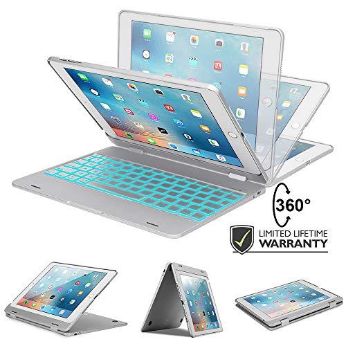 iPad Keyboard Case for iPad 9.7 2018 (6th Gen) - iPad 9.7 2017 - iPad Pro 9.7 - iPad Air 2 & 1 with 7-Color Backlight, 360 Rotatable, Slim & Light, Auto Sleep/Wake -iPad Case with Keyboard 9.7 Silver