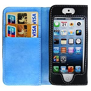 Horizontal Flip Soft Leather Case with Credit Card Slots for iPhone 5 & 5S (Blue)