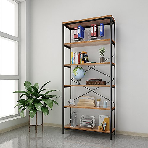 - Papafix Tall Bookshelf Mordern Wood Metal Open Industrial Book Shelves Bookcase Shelving Unit Storage System 5 Tier