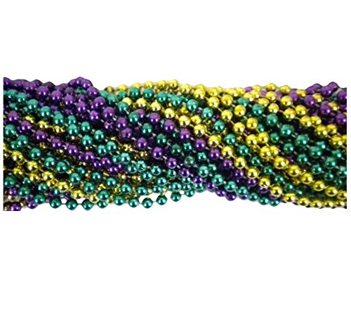 METALLIC MARDI GRAS BEADS (144 PIECES) - (Buy Mardi Gras Beads In Bulk)