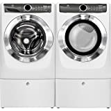 Electrolux Front Load Washer and Electric Dryer Set with Pedestals EFLS617SIW and EFME617SIW and EPWD157SIW