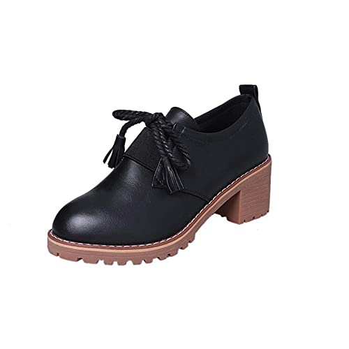 845b73876c FORUU Women s Fashion Leather Thick Tassel Lace-Up Martin Boots Casual  Shoes Black