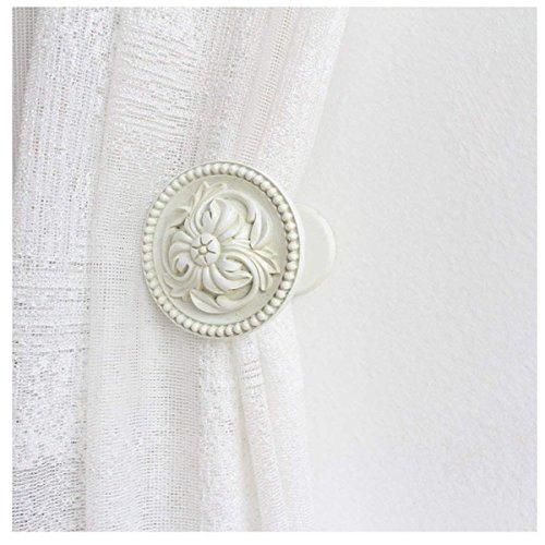 YING CHIC HCY 1Pair Antique Medallion Drapery Holdbacks Decorative Curtain Wall Hooks Curtain Rod (White)