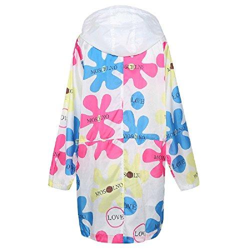 QFFL fangshaifu 女性プリントフード付きロングセクション日保護服/女性夏軽量ファッション屋外観光サンスクリーンショール/実用的なオフィス空調シャツ (サイズ さいず : XXL)