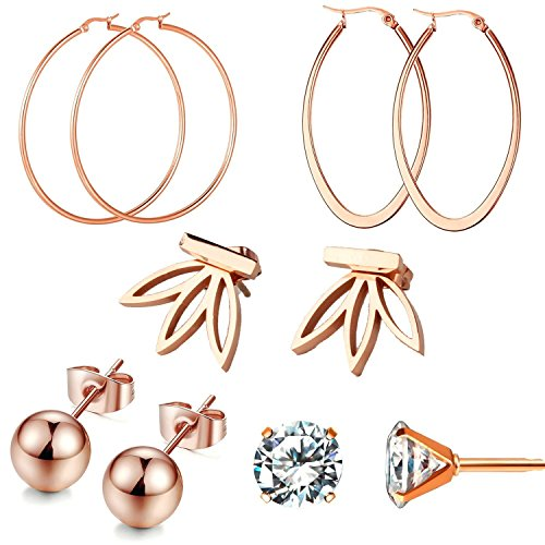 Gold Plated Set Stud - 18k Rose Gold Plated Earrings Hoops Ball Clear CZ Stud Earrings for Womens Sensitive Ears 5 Pairs