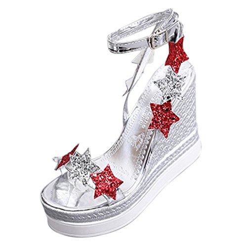 erthome Women Girl Fish Mouth Platform High Heels Wedge Sandals Shoes Five-Star Slope Sandals Silver