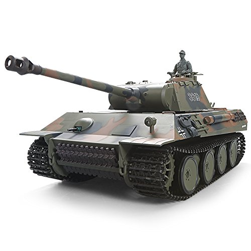 Henglong Remote Control 2.4Ghz 1/16 Scale German Panther RC Main Battle Tank, with Metal Gear and Tracks, Pro Edition