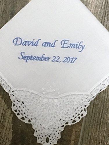 - Something blue, wedding handkerchief, bridal gift, bride hanky, personalized wedding hanky, gift for bride, bouquet wrap