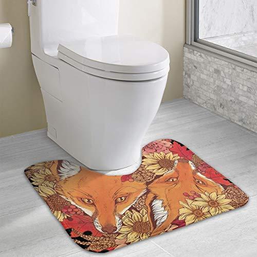 HeiZQheJ Autumn Fox Bloom Toilet Rug Bath Mats Bathroom Carpet Mat Non-Slip Bathroom Mat