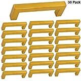 Drawer Pulls 3.75inch Kitchen Cabinet Drawer Handles Brass Gold - Homdiy HDJ12GD Square Storage Bathroom Cabinet Hardware Stainless Steel European Cabinet Pulls Dresser Drawer Handles 30 Pack