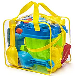 Prextex Beach Toy Set in Reusable Zippered Bag with Mesh Bag for Easy Clean and Store