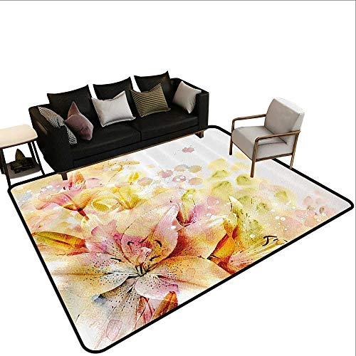 Living Room Area Rug Shabby Chic Watercolored Lilies Flowers Buds Leaves Colored Marks Artwork Rustic Home Decor5'3 x7'10 Cream Light Pink and ()