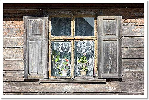barewalls Window an Old Wooden House with Shutters and Flowers Paper Print Wall Art (16in. x 24in.)