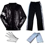 CIGUO Adult Child MJ Michael Jackson Jackets Billie Jean Jacket Suit Dance Cosplay Jackson Costume Set Full Size (Kid XL 77-88lb, Set(top+Pant+Glove+Sock))