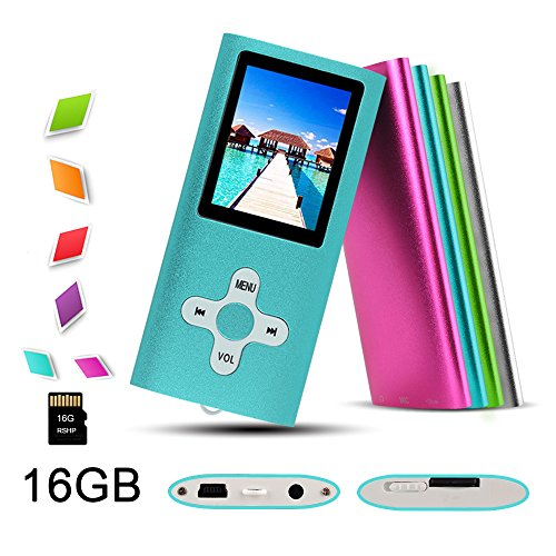 "RHDTShop MP3 MP4 Player with a 16 GB Micro SD card, Support UP to 32GB TF Card, Portable Digital Music Player / Video / Media Player / FM Radio / E-Book Reader, Ultra Slim 1.7"" LCD Screen, Blue"