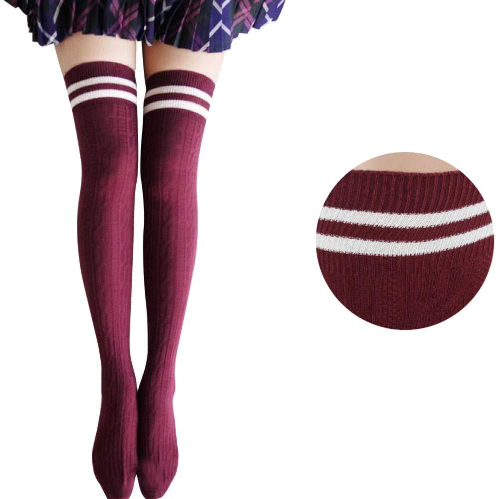 Pausseo Women Long Tube Over Knee Thigh-High Socks Stocking Boot Socks Comfortable Sweat Deodorant Anti-Slip Bed Sleep Skateboard Unisex Floor Sports Stocking Coral Fleece Girls Sock