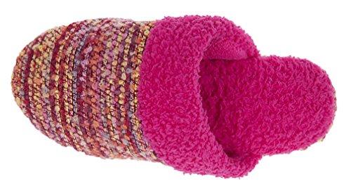 Mixin Kvinna Avslappnad Inomhus Multi Stickade Övre Textil Tofflor Rött