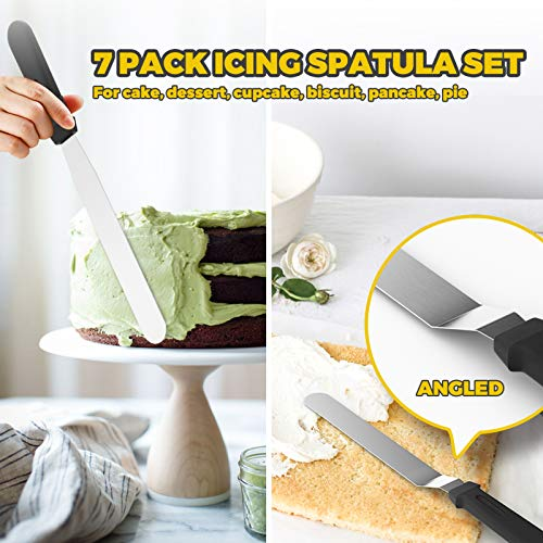 """Forc Icing Spatula 7 Packs, Angled Spatula, Cake Spatula Include 3 Cake Scrapers, Offset Spatula with 6"""", 8"""" Stainless Steel Blades, Frosting Spatula For Baking, Decorating Cakes, Pink"""