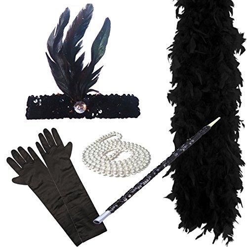 [FLAPPER 5 PIECE SET Ladies Charleston Fancy Dress 1920's (BLACK) by Paper Umbrella Fancy Dress] (Dresses From The 1920s)