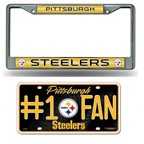 Rico Pittsburgh Steelers NFL Glitter Bling Chrome Plate Frame & Steelers Number One Fan License Plate