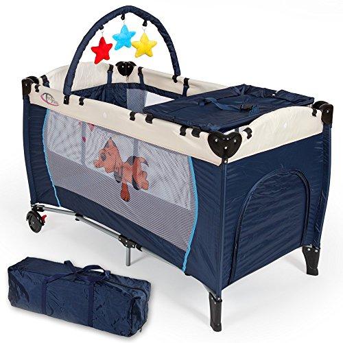 TecTake® Kinder Reisebett höhenverstellbar mit Babyeinlage navy blau
