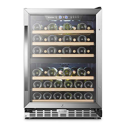 24 Inch 44 Bottles, Sinoartizan Built-in Dual Zone Wine Refrigerator Cooler