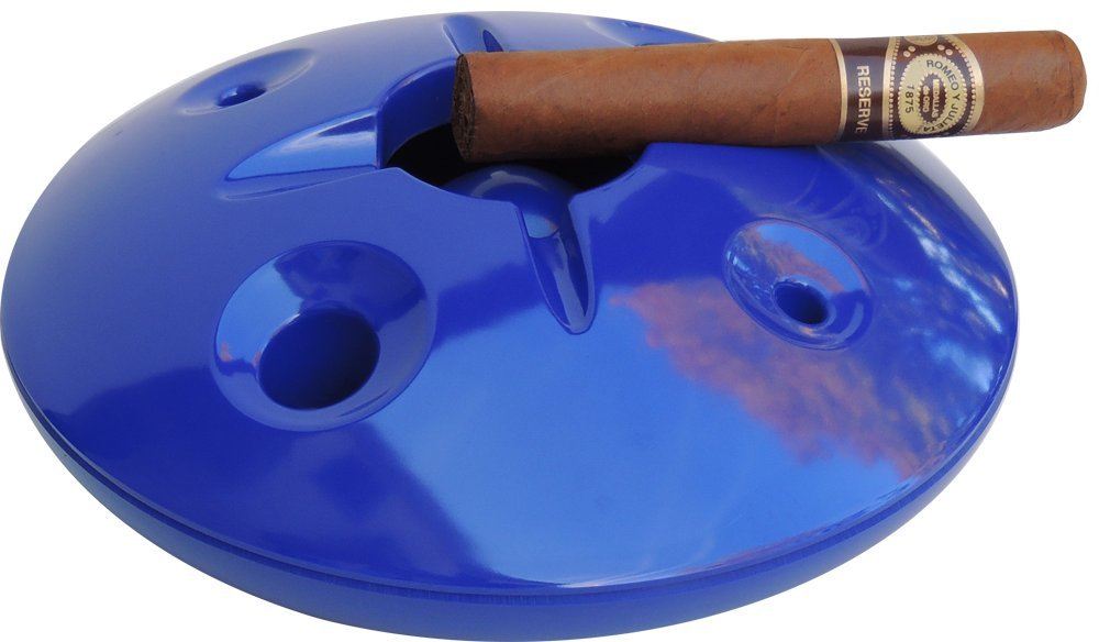 Large 8 Inch Commercial Quality Melamine Windproof Ashtray - Royal Blue