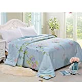 YU&AN Bedding Silk Quilt,European Quilt Anti-Wrinkle Bed Cover for Bedroom Resort Sofa-J 200x230cm(79x91inch)
