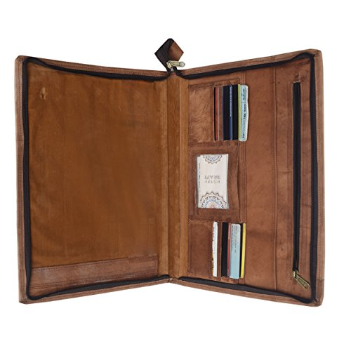 Genuine piel Business portafolios Piel duradera | Organizador profesional Hombres y Mujeres | Pad Folio para documentos y...