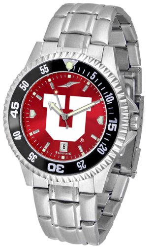 Linkswalker Mens Utah Utes Competitor Steel Anochrome Bezel Watch