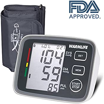 WARMLIFE Accurate Automatic Upper Arm Blood Pressure Monitor Digital BP Machine Pulse Rate Monitoring Meter with 8.8-14.1in Cuff Kit,180 Records Two Users ...
