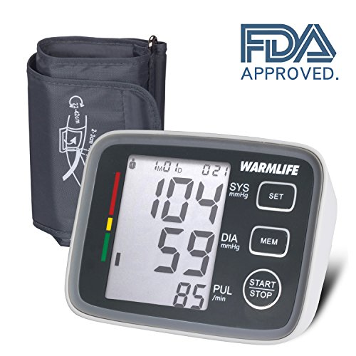 WARMLIFE Accurate Automatic Upper Arm Blood Pressure Monitor Digital BP Machine Pulse Rate Monitoring Meter with 8.8-14.1in Cuff Kit,180 Records Two Users,Display&Talking Wire/Wireless– FDA (Pressure Machine)