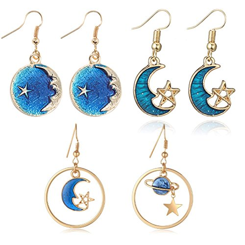 Crescent Moon, Star and Planet with Statement Blue Crystal Drop Dangle Hook Earring for Women and Girls (3 pcs galaxy moon, star, planet set)